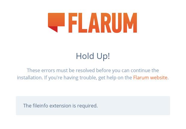 Flarum安装缺少fileinfo扩展