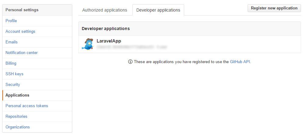 创建新的GitHub应用