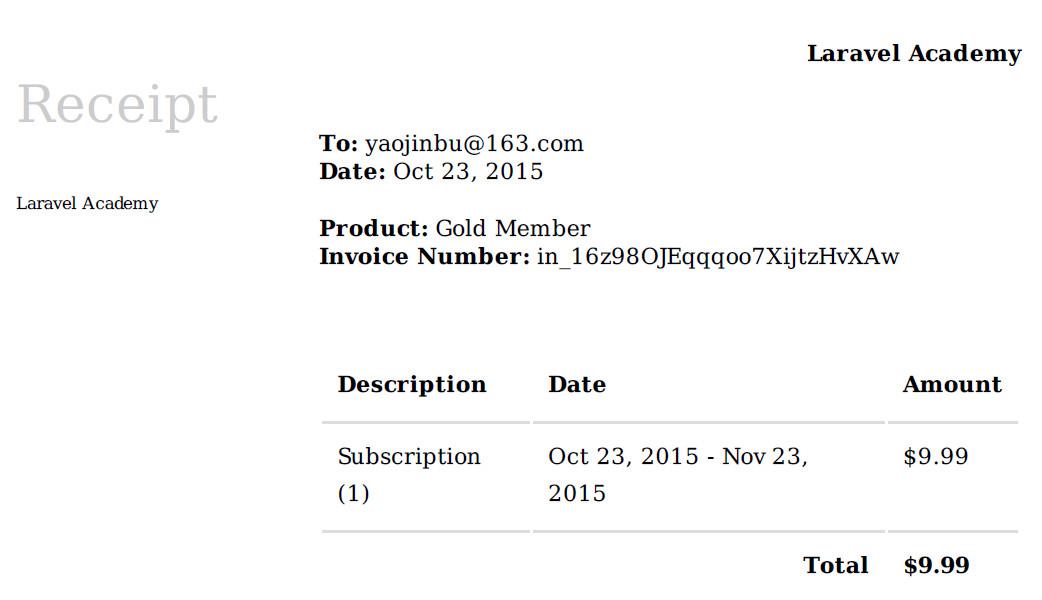 Laravel Cashier 生成的PDF发票
