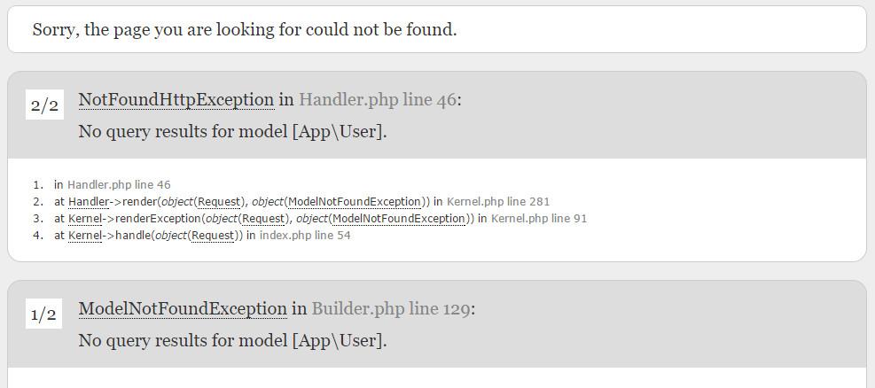 ModelNotFoundException