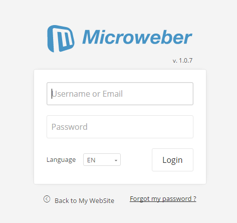 Microweber登录页面