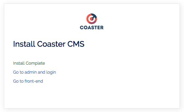 coaster-install-completed
