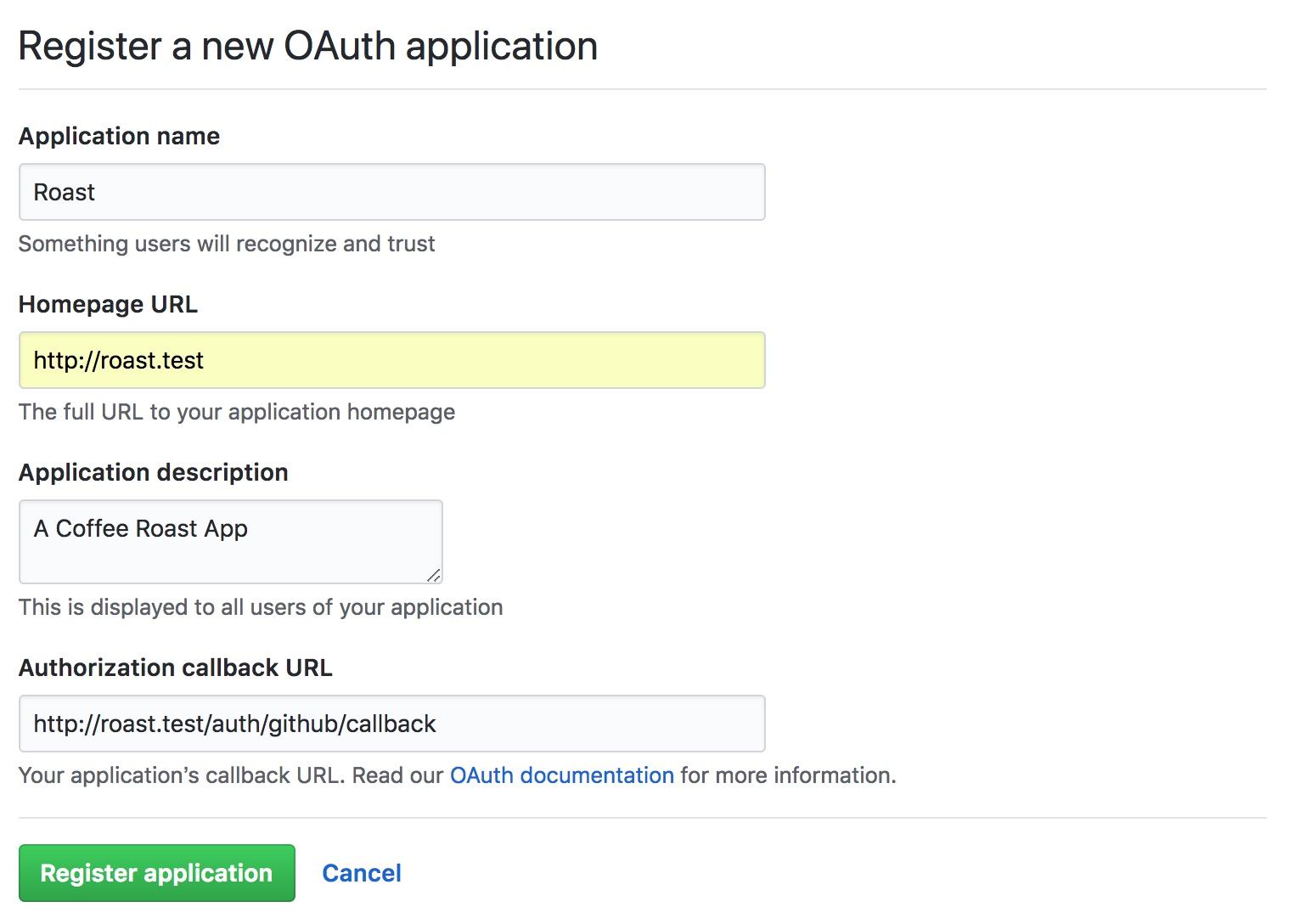 在github新增oauth app
