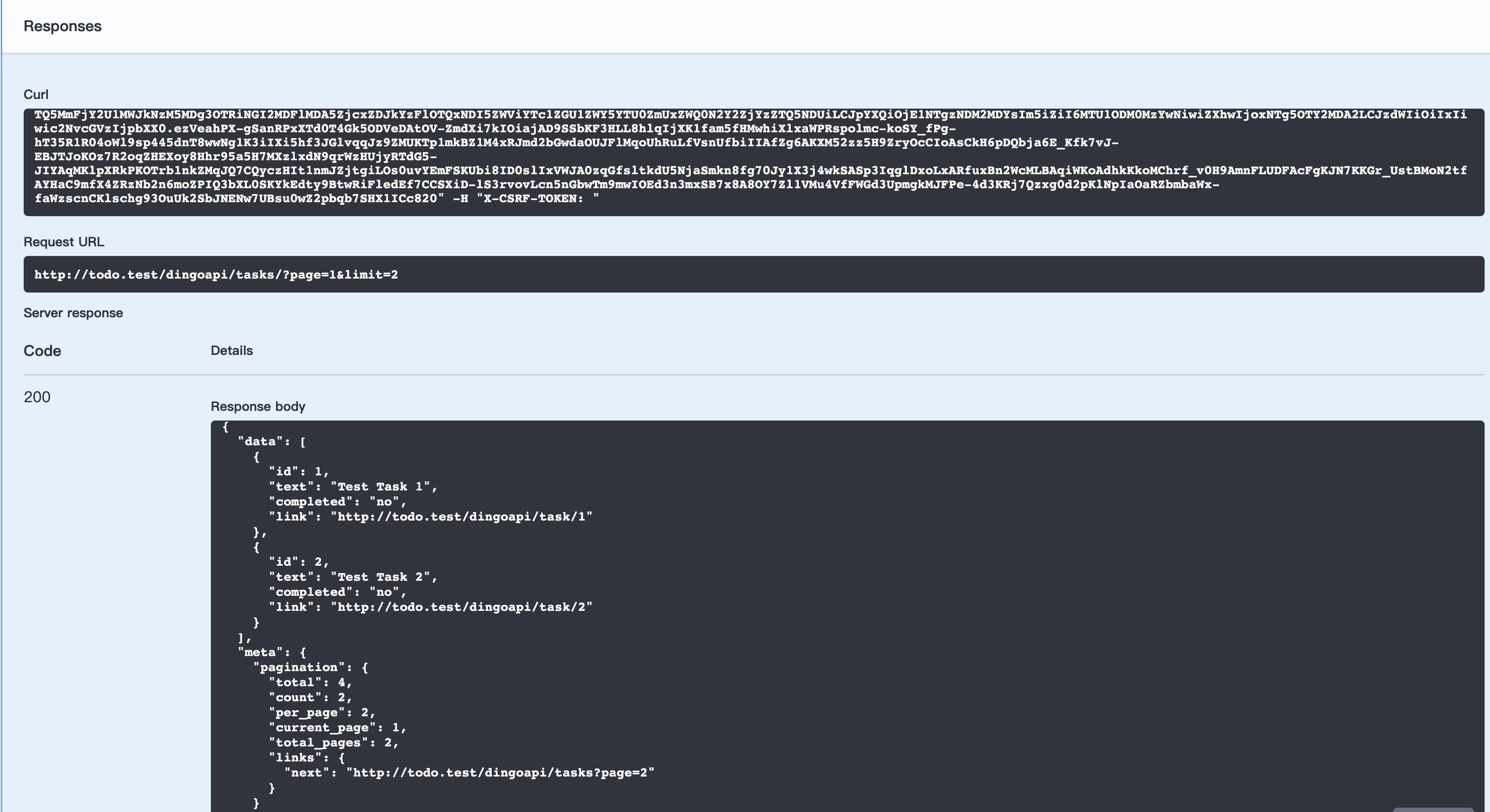 Laravel+Swagger生成API文档接口测试返回数据